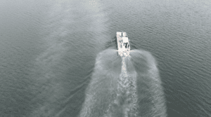 Boat Completing Toxic Algae Removal Picture
